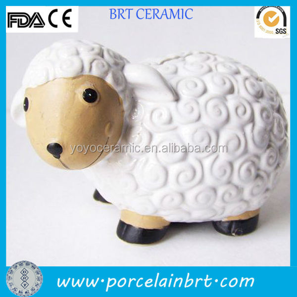Promotional christmas gift glazed ceramic sheep coin bank