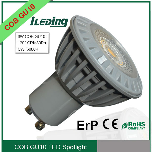 High Luminous 6W COB GU10 LED Spotlight equal to 50W