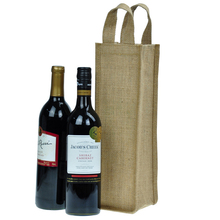 Custom wine tote bag single bottle jute wine bag