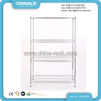 4 Layers Light Duty Steel Chrome Wire Shelving Rack