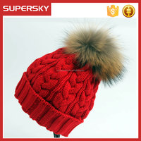 A-1492 Women Winter Warm Cable Knitted Pom Hat Raccoon Fur Pom Beanie Hat Knitted Fur Bobble Ski Hat
