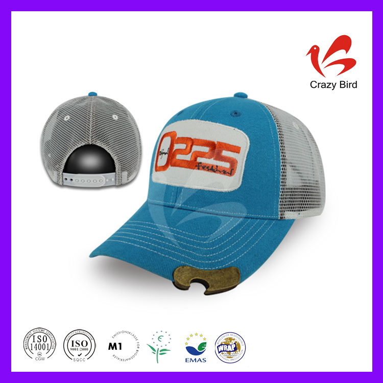 New Product Sunshading 6 Panels Cap 7.5CM Brim Length Cotton & Mesh 3D Embroidery Logo Crazy Bird Netted Baseball Caps