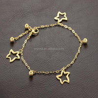 Temperament fashion titanium steel hollow beads gold plated anklets