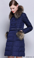 western style long down coat for lady/ fashion fur collar long style down coat/ ladies winter long fur coat