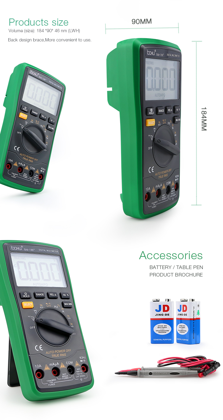 ba-18B+ mini manual multi-function Digital multimeter Tester for AC/DC Voltage & Diode Test