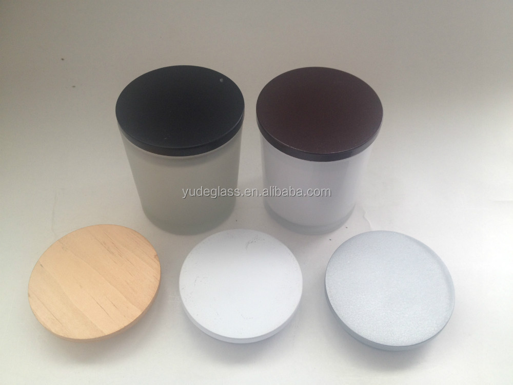 wholesale white candle jar and different color of candle jar wooden lid , frosted glass candle holder