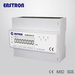 SDM530D-2T 3 phase 4 wire Dual source meter DIN rail kWh meter CE approved