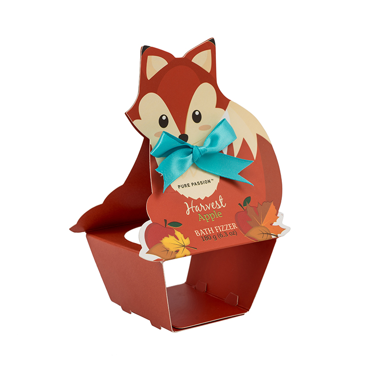 Customized cute fox printing foldable Christmas paper gift box with ribbon bow