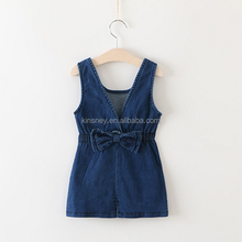 KS00232C Latest design autumn wear kids shoulder straps denim one piece dress