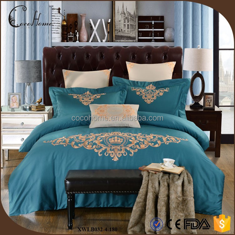 European style embroidered 100% cotton navy bedding set luxury wedding/ home comforter bed comforter set
