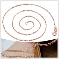 1.2mm Rose gold plated chain necklace Water Wave chain free shipping cheap necklace chains