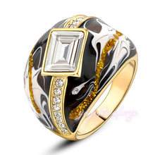 Ladies jewelry original enamel gold plated different types stones rings