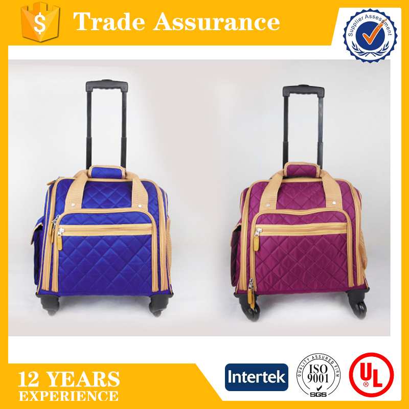 2017 hot sell high quality retractable wheels business organizer travel trolley luggage bag