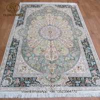 5x7.5ft visual feast colorful handmade qum rug 100% silk persian carpet
