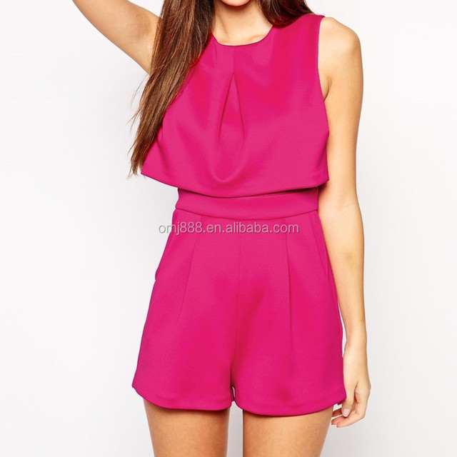 Petite Size Scuba Rose Red Tunic Playsuit with Open Back korean clothes
