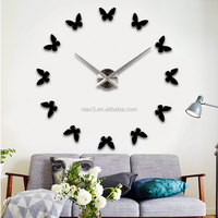 2017 new product diy clock creative vivid butterfly wall mounted metal clock for home decor