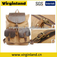 Unisex Fashion Vintage New Unique Light Brown Canvas Leather Backpack for Teens