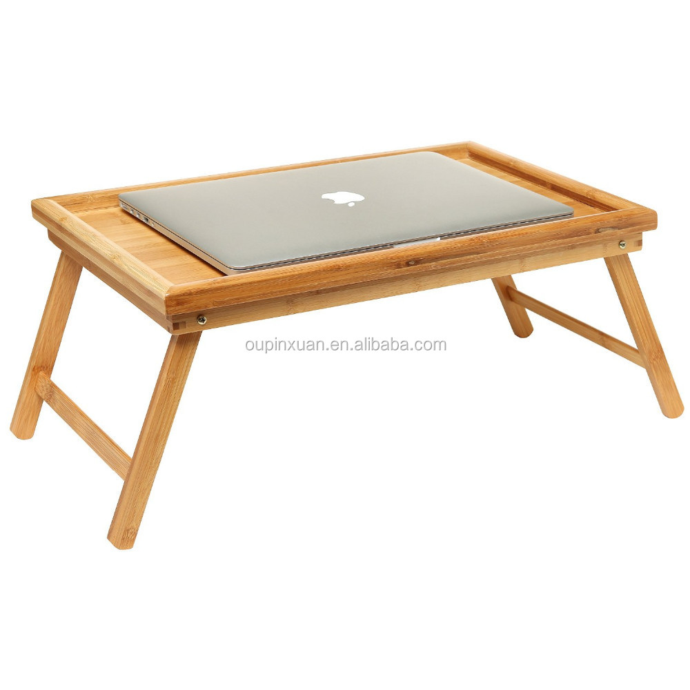 Folding Bed Tray Table And Breakfast Tray Bamboo Bed Table