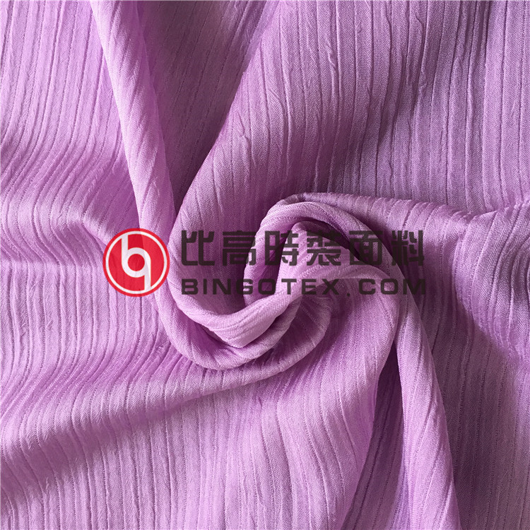 50D shiny spandex crinkle crepe double-deck pleated chiffon fabric for women's garment