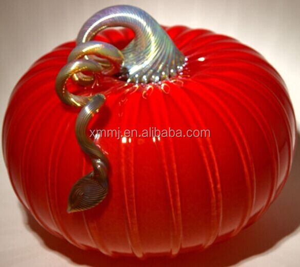 Wholesale hand blown glass craft artificial red pumpkins to Halloween decorate