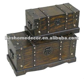 New Set/2 Old Time Classic Leather N Wood Chest Trunk