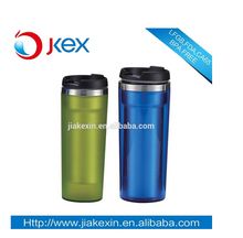 Inside SS outer plastic adult drinking cups with screw lid and straw