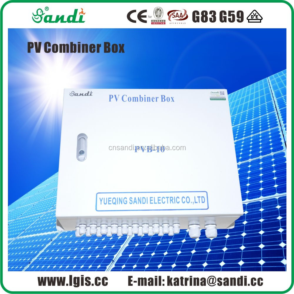 PV array combiner box 10 strings with SPD and Anti-reverse module protection