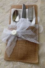 Natural Burlap Lace Rustic Handmade Wedding Silverware Napkin Holder/Napkin Rings