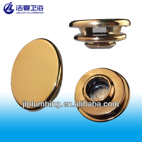 Chrome plated gold lavatory overflow hole cover