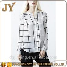 white shirts for women ladies office uniform design cotton fabric plaid shirts wholesale tops long sleeve blouse