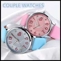 Charm Rose red Pink strap watches for girls ODM diamond Casual Leather