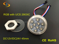 New product!45mm rgb DMX dream color dc24v 45mm 9 smd 5050 with ucs2903 ic led rgb pixel for amusement ride