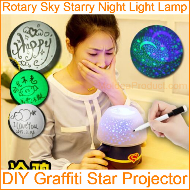 DIY Graffiti Star Projector - Write and Show 3 Led Color switch Message Board Rotary Sky Starry Night Light Lamp