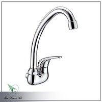 2014 new design chrome plating wall mounted single cold gooseneck kitchen faucets 1007
