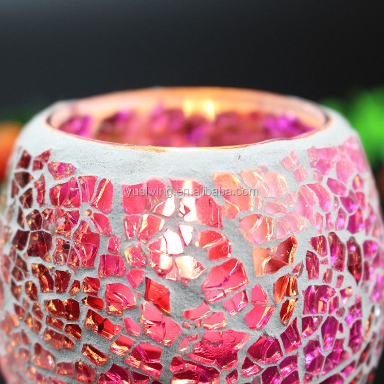 bow shape promotion mosaic glass Candle Holder factory direct price