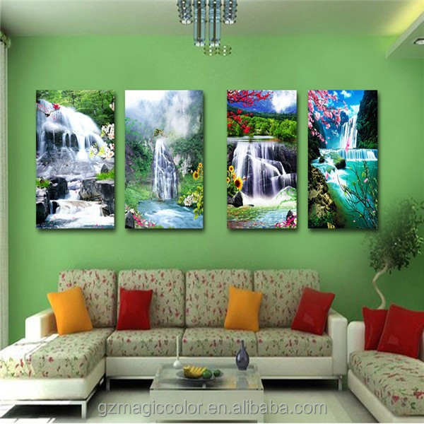 clful custom waterfall landscape oil painting