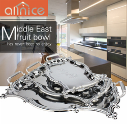 High mirror polishing chrome plating emboss stainless steel serving tray with pp handles