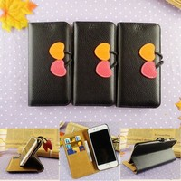 Luxury stand flip wallet leather phone cover for iphone 6 plus with strong megnatic heart button wholesale