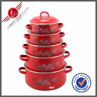 5 Piece China Red Supplier Wholesale Metal Decorative Cook Pots