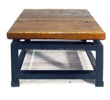 Chinese antique recycle solid wood industrial iron coffee table