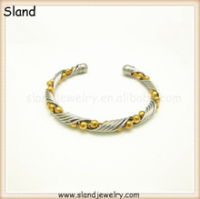 SLand Jewelry factory price wholesale gold bead and silver wire/cable Mixed style stainless steel cuff bracelets made in China