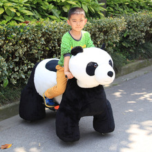 electric coin operated plush robotic panda walking animal ride for mall