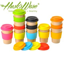 BPA FREE Good Quality Cup 435ml Water Bottle Rice Husk Fiber Travel Coffee Mug with Silicone Lid
