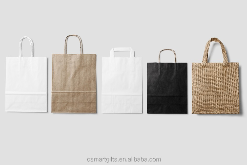 Wholesale craft or kraft handle paper bag with logo print, bag made of kraft paper