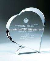 Fashion heart design crystal love trophy,heart shape trophy for charity souvenir gifts