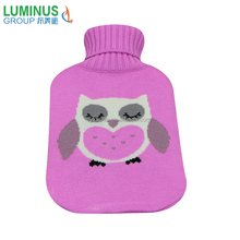 2L Hot water bag with grey owl knitted cover