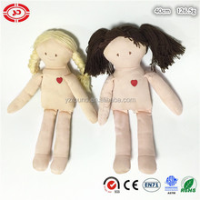 Naked DIY kids soft plush stuffed doll with hair
