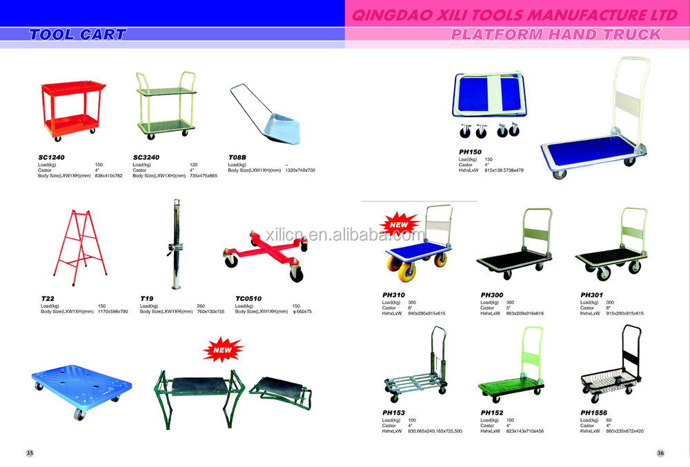 four wheel foldable platform hand truck with pu wheel
