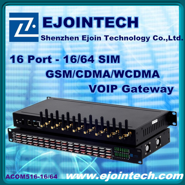 2014 Ejointech gsm gateway huawei ACOM516 16 port 64 sims GSM voip gateway home gateway router