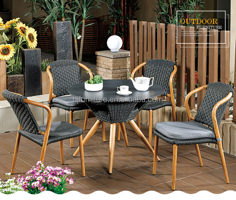Wicker Furniutre Outdoor Table Chair Set made in china rattan garden chair dining chair and table school public furniture